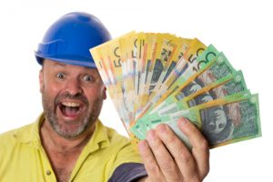 excited tradie with cash in hand
